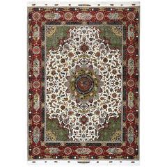 Animal Motif Vintage Tabriz Persian Rug