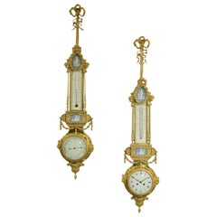 Neoclassical Style Gilt-Bronze Hanging Clock and Barometer, French, circa 1880
