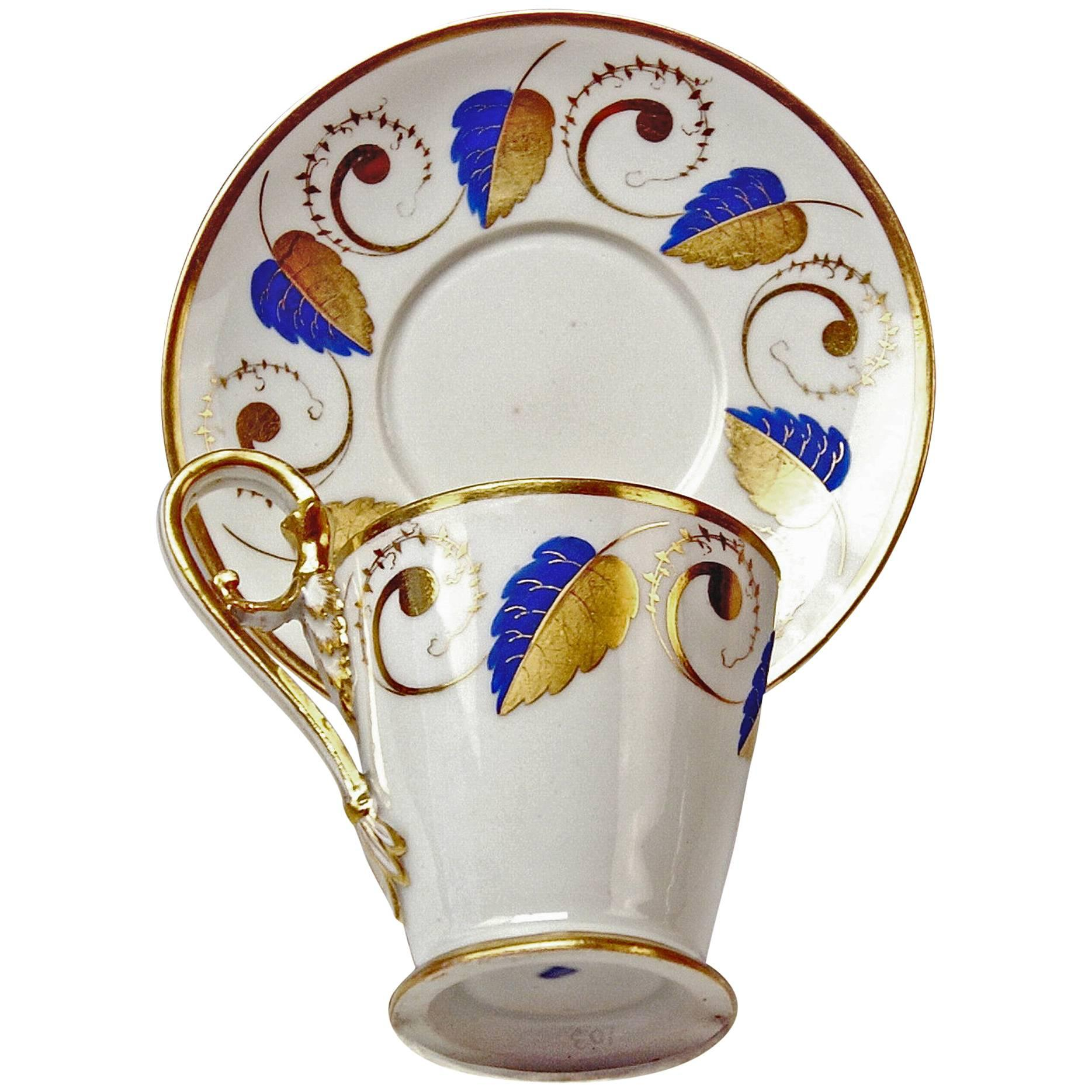 Vienna Imperial Porcelain Cup Saucer Golden Blue Ornaments with Leaves 1812