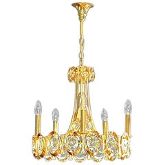 Large Midcentury Palwa Chandelier Gilt Brass Optical Crystal Glass Disc 1960s