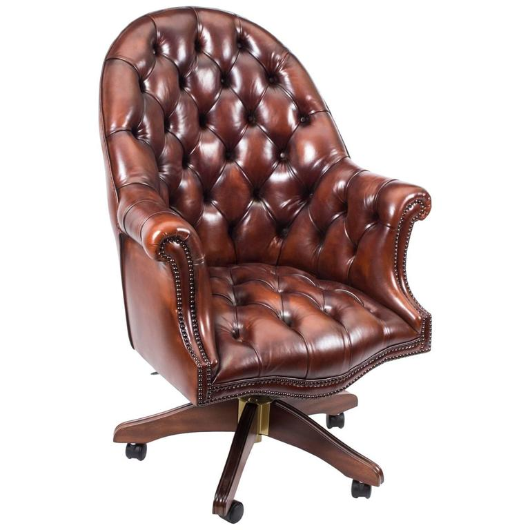 English Handmade Leather Directors Desk Chair BBO