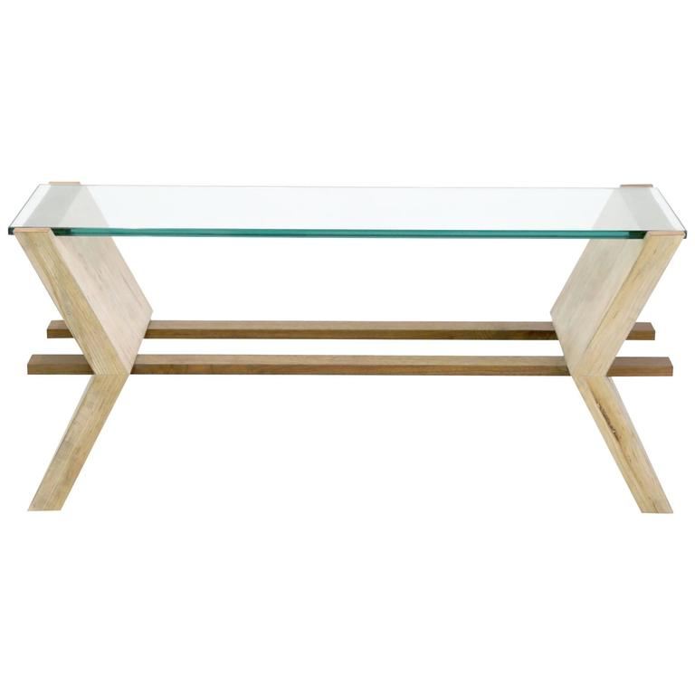 Sentient Friends Coffee Table In Maple Walnut Glass And Copper - Maple and glass coffee table