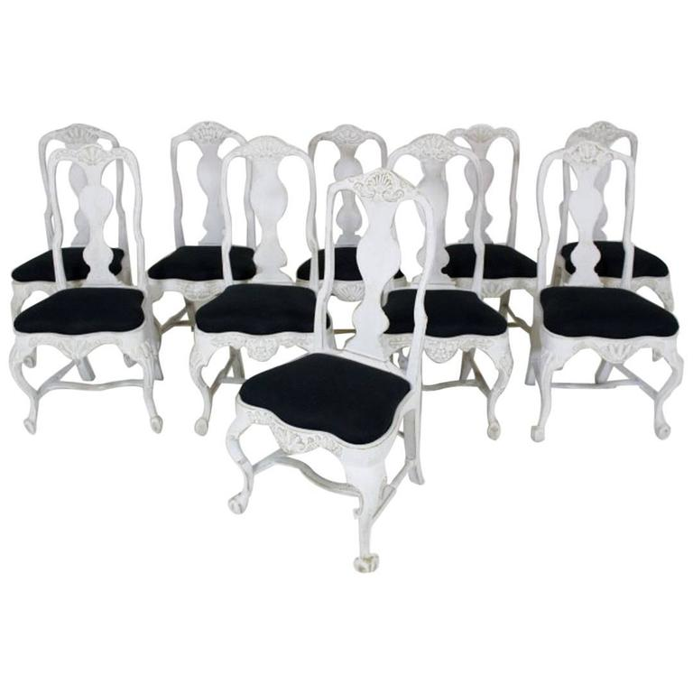 Set of Ten Similar 18th Century West Swedish Rococo Chairs