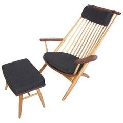 Tateishi Shoiji Oak and Walnut Easy Chair and Stool