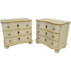 Pair of Amy Howard Serpentine Commode Chest of Drawers