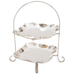 Early 20th Century Silver Plated Two-Tier Cake Stand