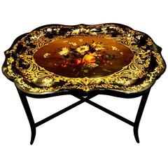 Stunning 19th Century English Papier Mâché Gilt Floral Tray, Now as a Table