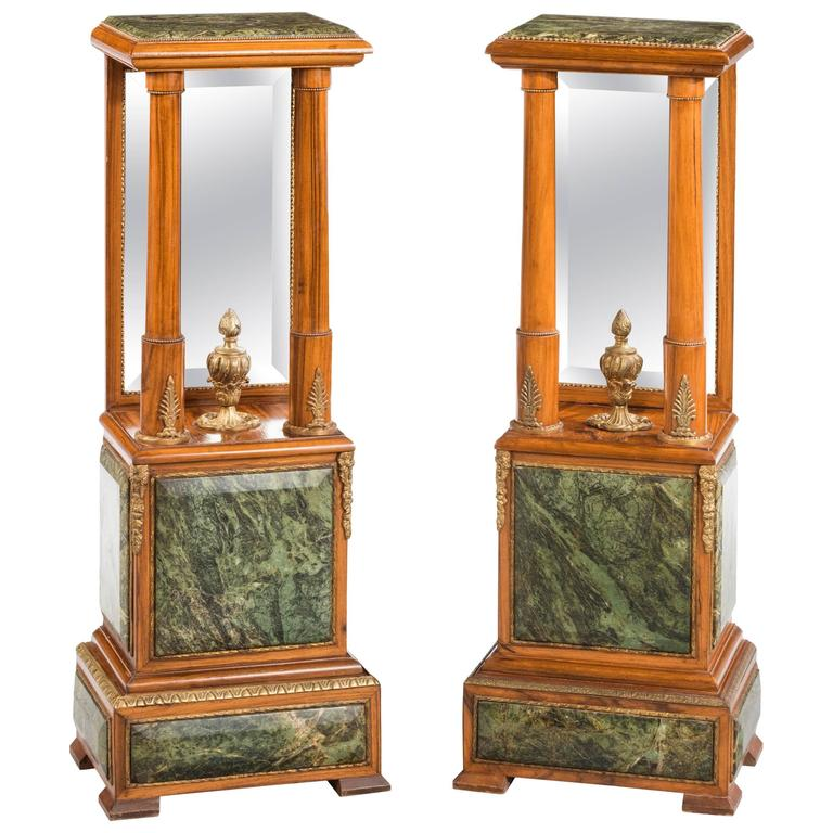 Pair of Louis XVI Style Marble Mounted Stands