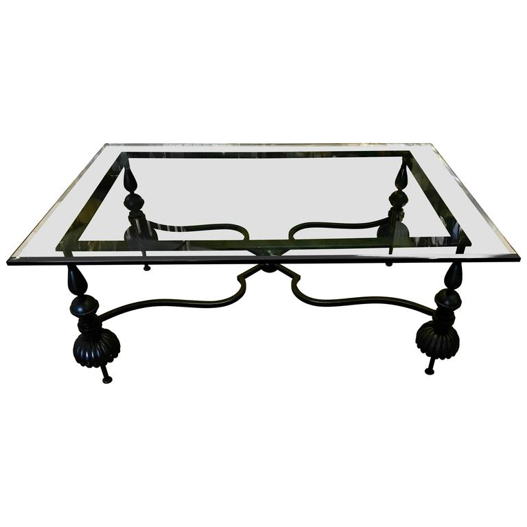 Beautiful Neoclassical Wrought Gun Metal And Beveled Glass Coffee Table For Sale At 1stdibs