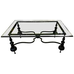 Beautiful Neoclassical Wrought Gun Metal and Beveled Glass Coffee Table