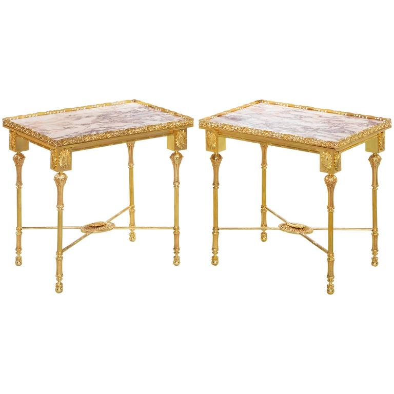 Pair Of Early 20th Century Gilt Metal And Marble Low Side Tables For Sale