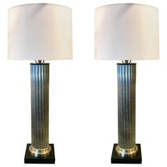 Pair of Italian Large-Scale of Brushed Chrome Column Lamps
