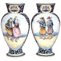 Large Pair of 19th Century French Painted Faience Vases Signed Henriot Quimper