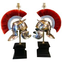 Pair of Grand Tour Style Steel and Brass Roman Helmets, Now as Lamps