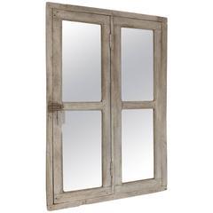 Antique Vintage French Hardwood Window Frame Mirror