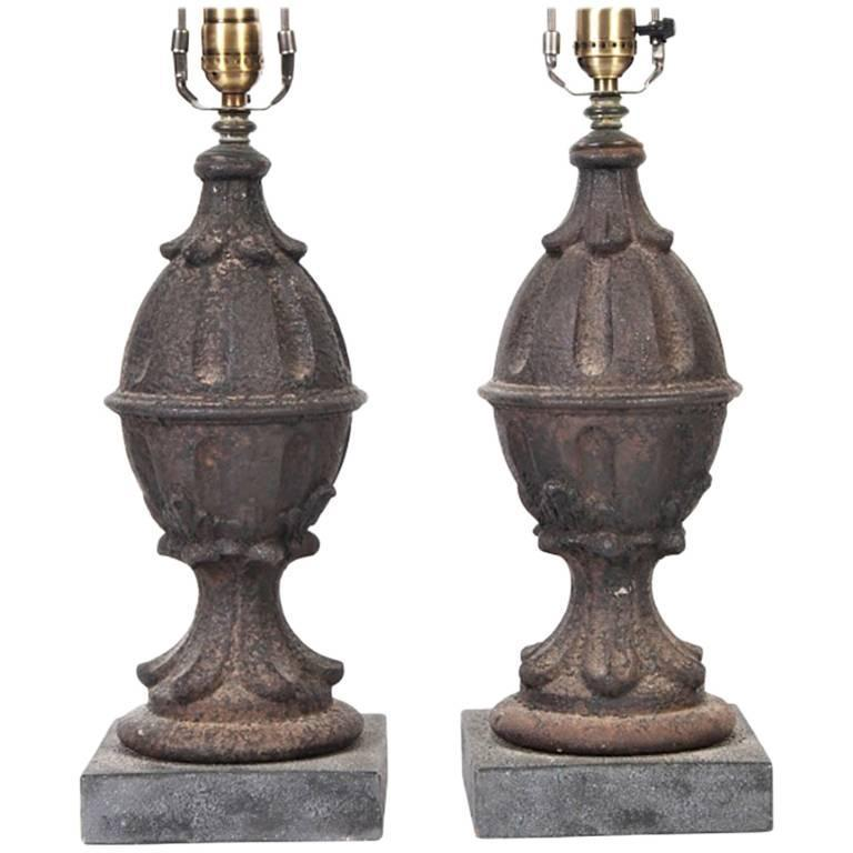Pair of Cast Iron Finial Table Lamps