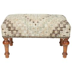 Vintage Footstool Newly Upholstered in Turkish Rug