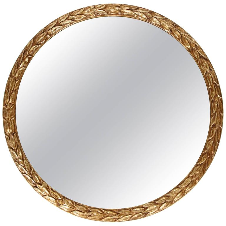 Very best Vintage Round Laurel Leaf Framed Mirror with New Gold Leaf Finish  JH34