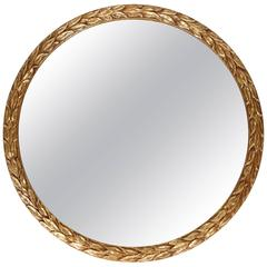 Vintage Round Laurel Leaf Framed Mirror with New Gold Leaf Finish