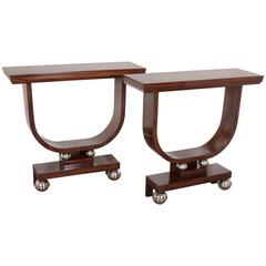 "Pair of French Art Deco Macassar Ebony ""U"" Shaped Consoles"