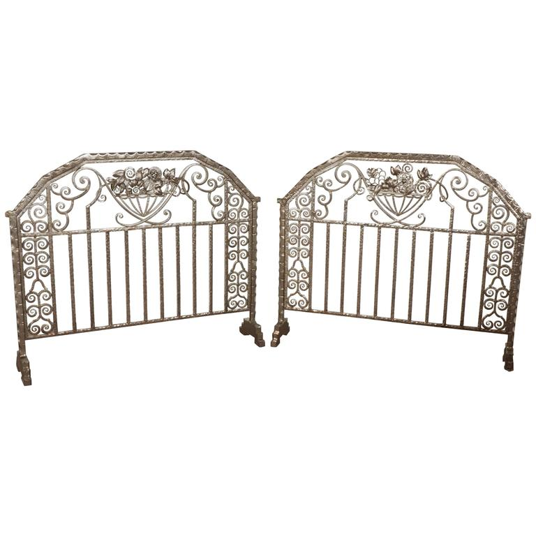 Pair of Important Art Deco Nickeled Hand-Hammered Iron Fire Screens, Signed For Sale