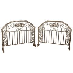 Pair of Important Art Deco Nickeled Hand-Hammered Iron Fire Screens, Signed