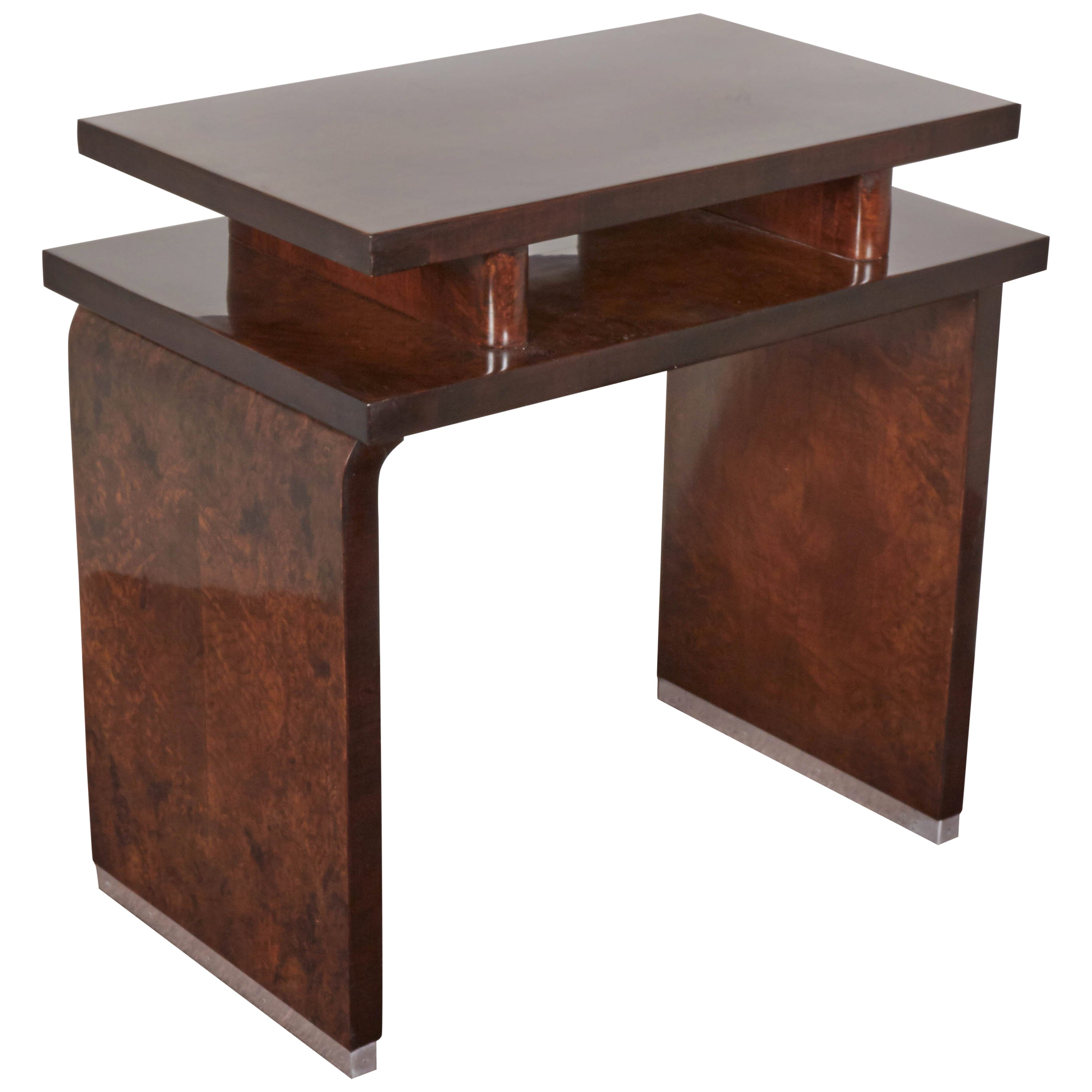 French Art Deco Burl Walnut Occasional or Side Table