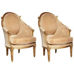 Pair of Art Deco Gilt Bergères