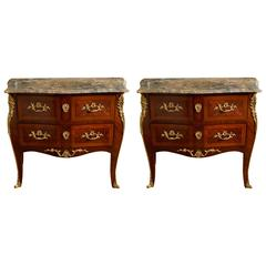 Pair of Louis XV Style Ormolu-Mounted Commodes