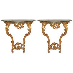 Pair of Italian Rococo Style Giltwood Wall Consoles