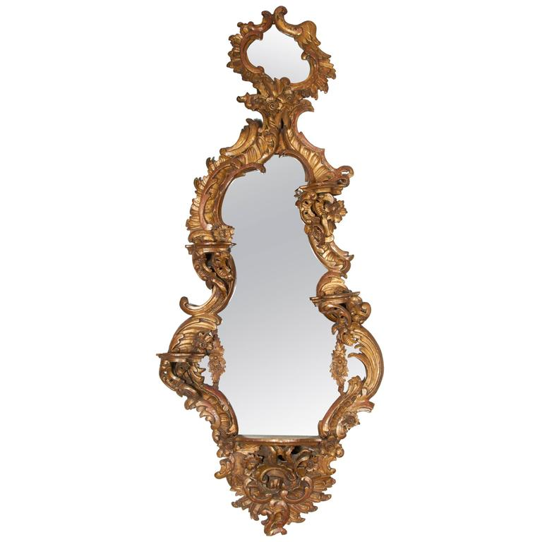 Italian Rococo Style Hand-Carved Giltwood Mirror