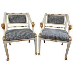 Pair of Swedish Karl Johan Parcel Gilt and Cream Painted Armchairs