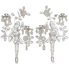 Pair of New Rock Crystal Two-Light Sconces in the Manner of Maison Baguès