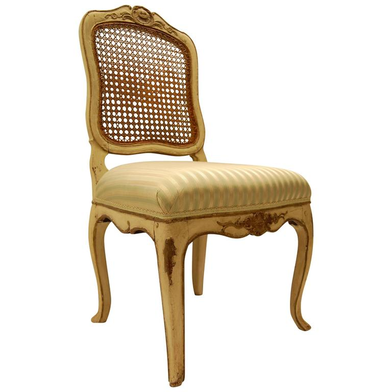 Louis XV Style Chair with Hand-Caned Back in Original off White Painted Finish For Sale
