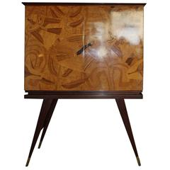 "1950 Cabinet Bar of ""Colli"" Turin in Inlaid Sycamore"