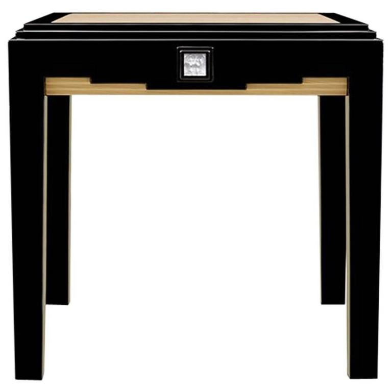 Lalique Black Lacquer and Ivory Ash Side Table with Crystal Panel Accent