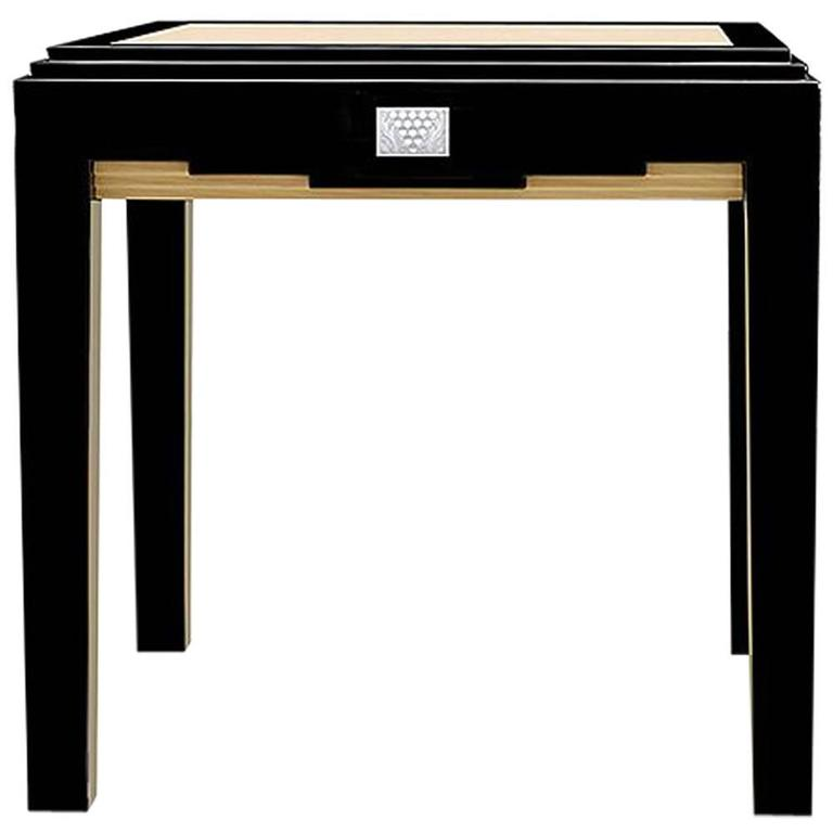 Lalique Black Lacquer and Ivory Ash Side Table with Raisins Crystal Panel Accent For Sale