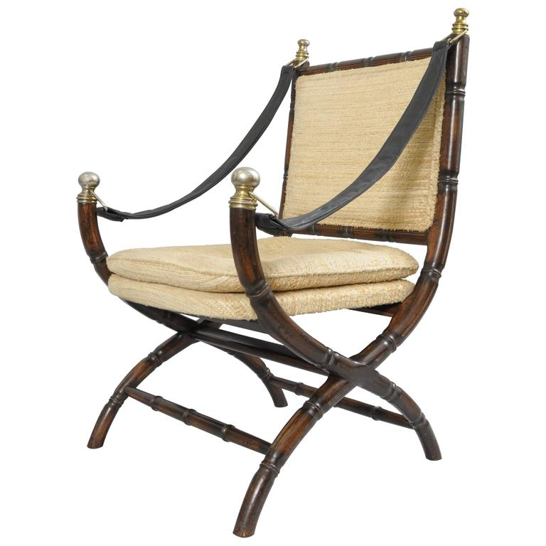 Bamboo Chair With Arms: Drexel Campaign Style Faux Bamboo Chair Safari Sling Arm