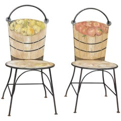John Vesey Two-Piece Set of Hand-Painted Iron Garden Chairs in Basket Design