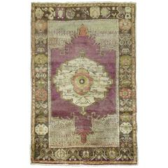Purple Vintage Turkish Oushak Scatter Size Throw Rug