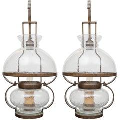 Pair of Custom Bronze and Blown Glass Italian Lanterns, circa 1960