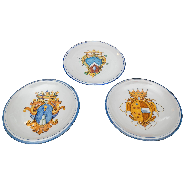 Set of Three Late 19th Century Italian Majolica Plates