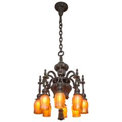 Eight-Arm Bronze Chandelier with Handblown Period Glass Shades
