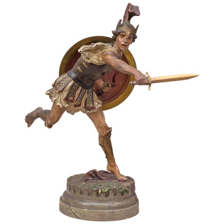 Vienna Bronze Figure of a Roman Warrior by Franz Bergmann For Sale