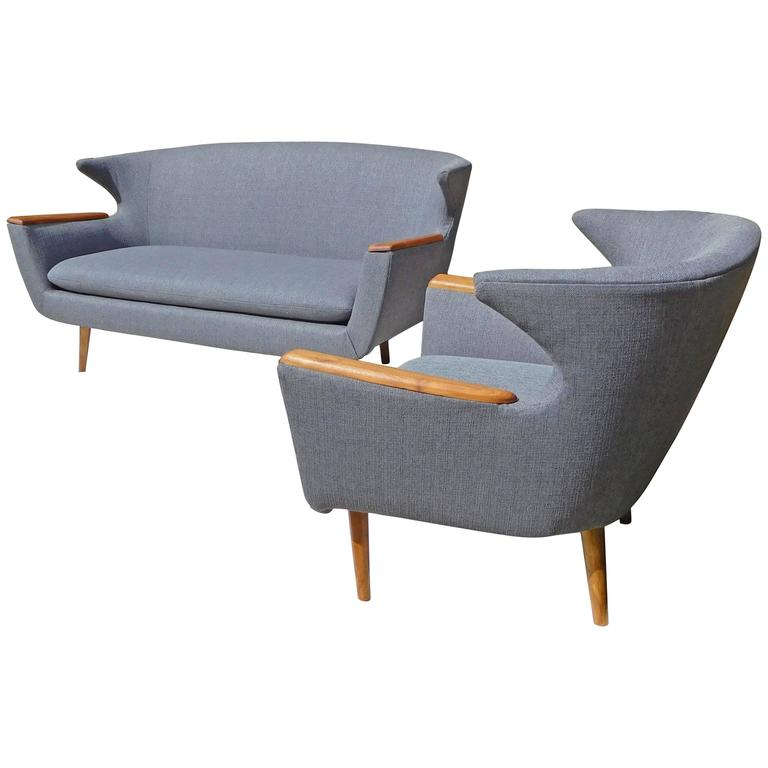 Scandinavian Wingback Two-Seat Sofa and Chair Set, Mid-Century Modern