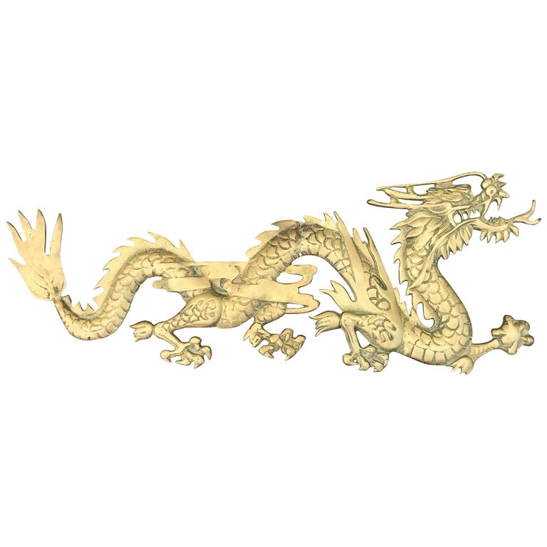 1950s Asian Brass Dragon Wall Sculpture For Sale