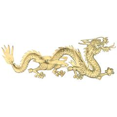 1950s Asian Brass Dragon Wall Sculpture
