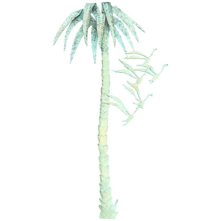 1960s, Italian Bronze Palm Tree Wall Sculpture