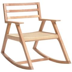 Giacomo Rocking Chair, Cerused White Oak and Woven Danish Cord