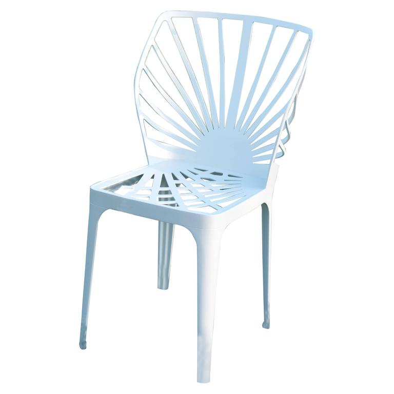 """""""Sunrise"""" White Painted Aluminum Chair Designed by L. and R. Palomba for Driade"""